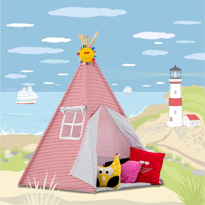 Stan pro děti TIPI + podložka a 2 polštářky - Námořnické pruhym modré tečky
