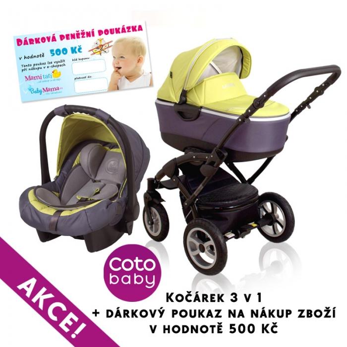 Kočárek LATINA Coto Baby 3v1 + dárkový kupon 500kč - green
