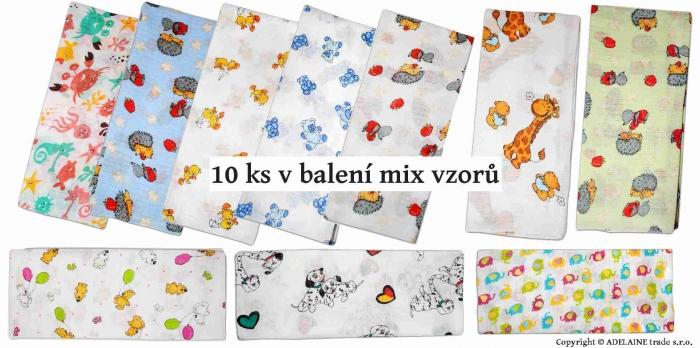 Bavlněné pleny - TETRA 70x80cm, 10ks v bal. - Mix vzorů a barev