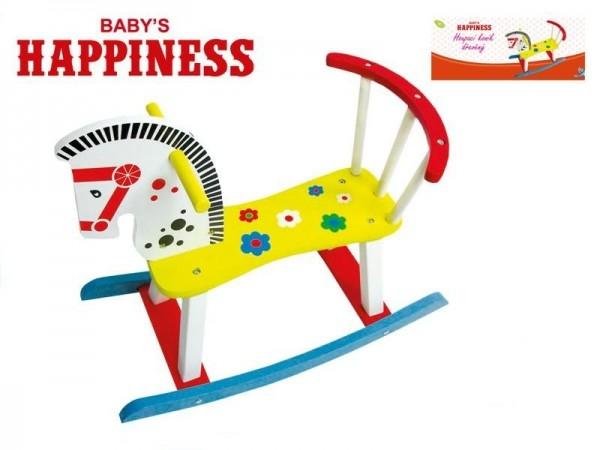 Kůň Koník houpací dřevěný 60x50x29cm Baby´s Happiness v krabičce
