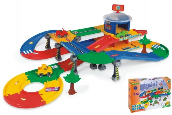 Kid Cars 3D Garáž 2 patra s cestou plast 5,5m v krabici 79x54x14cm Wader