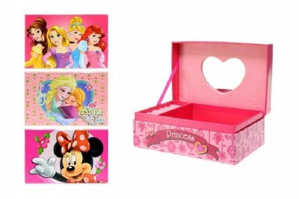Skříňka šperkovnice se zrcátkem 18x12x8cm asst Disney
