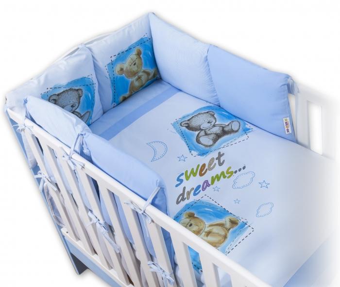 Povlečení s polštářkovým mantinelem Sweet Dreams by TEDDY - modrý