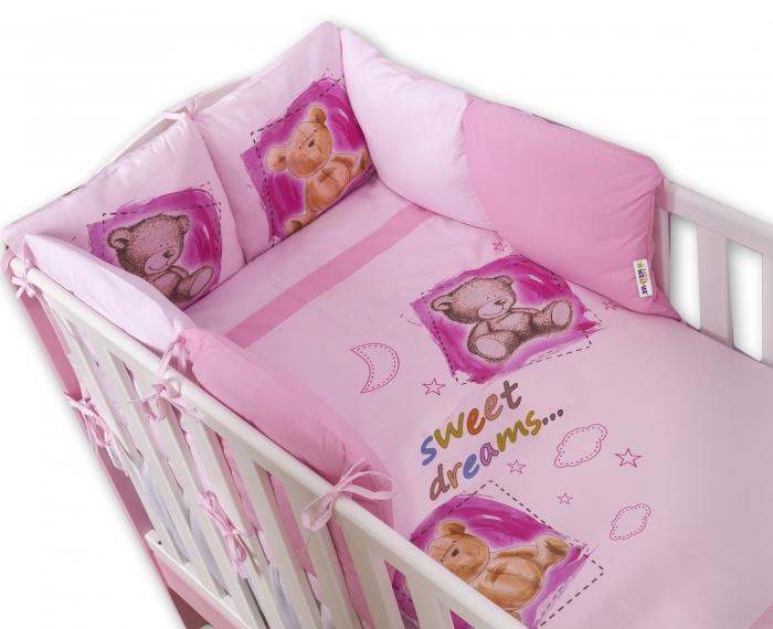 Povlečení s polštářkovým mantinelem Sweet Dreams by TEDDY - růžový