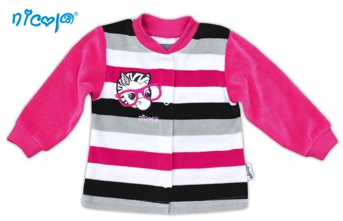 Košilka velurová ZEBRA - tm. růžová s proužky