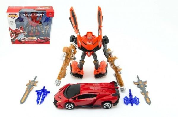Transformer auto/robot 25cm asst 2 barvy v krabici 34x33x10cm