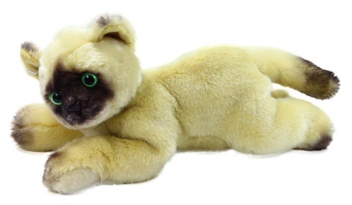 Plyšová kočka Siamská ležící, 30 cm