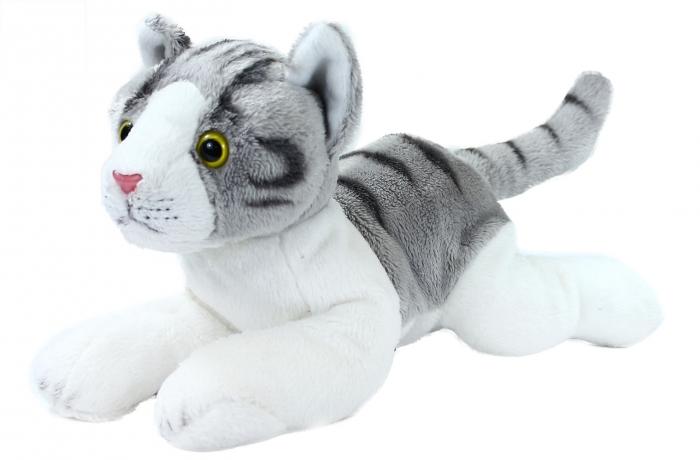 Plyšová kočka šedo-bílá, ležící, 30 cm