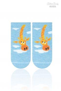 Kojenecké ponožtičky CANDY - Žirafka - sv. modrá