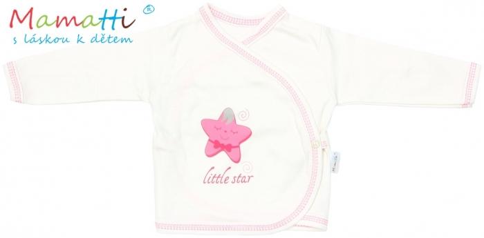 Novorozenecká košilka Mamatti - STAR -smetanová/hvězdičky