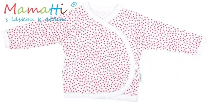 Novorozenecká košilka Mamatti - SHEEP - červené puntíky