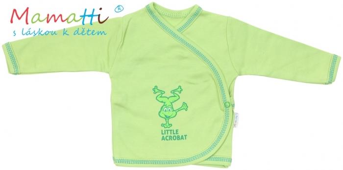 Novorozenecká košilka Mamatti - FROG - zelená