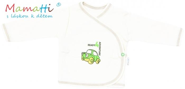 Novorozenecká košilka Mamatti - CAR - krémová