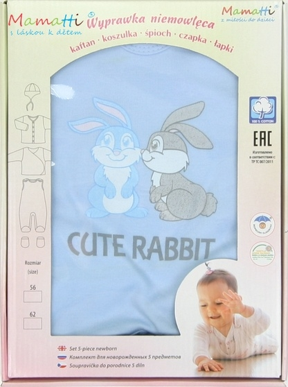 Souprava do porodnice v krabičce Mamatti - CUTE RABBIT - modrá