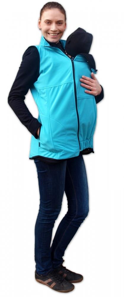 Vesta pro nosící, těhotné - softshellová - tyrkysová