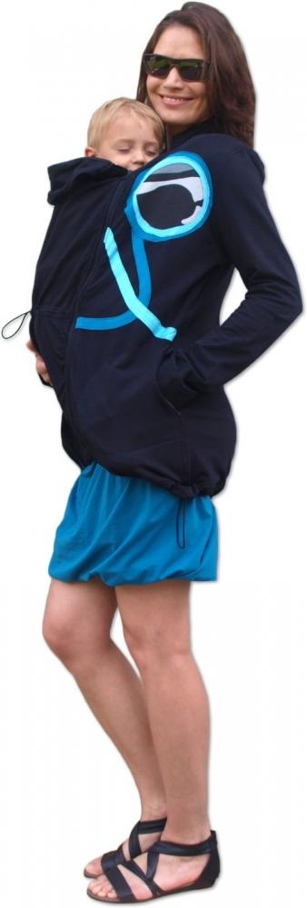 Nosící mikina - pro nošení dítěte v předu i vzadu na těle - tyrkysová aplikace