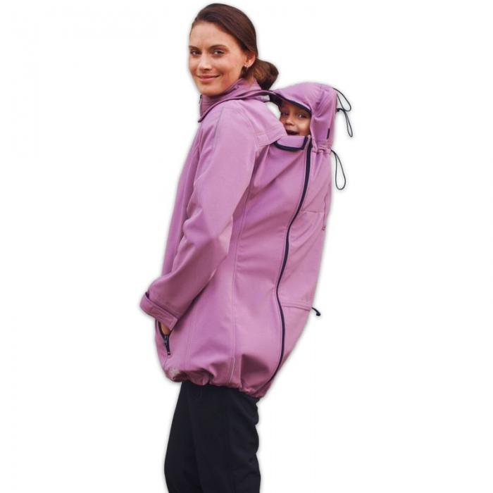Bunda pro nosící, těhotné - softshellová - pro nošení dítěte v předu i vzadu - růžová