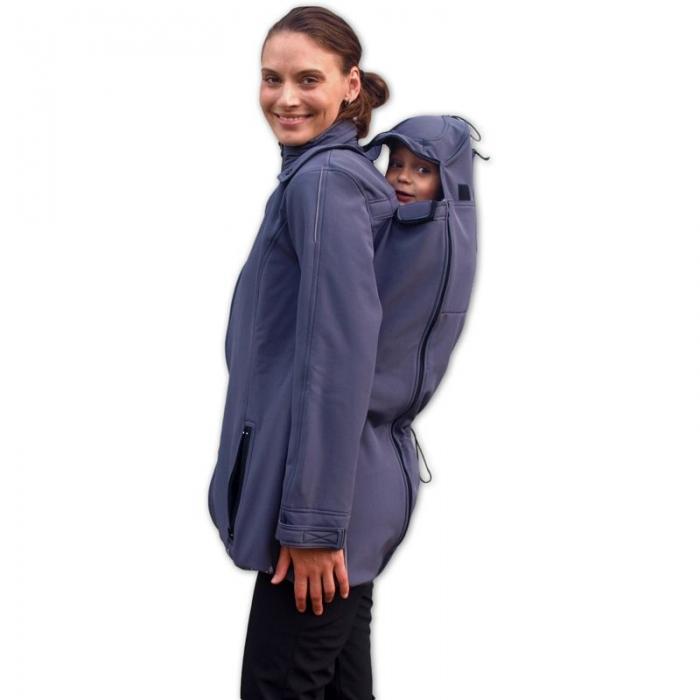 Bunda pro nosící, těhotné - softshellová - pro nošení dítěte v předu i vzadu - antracitová