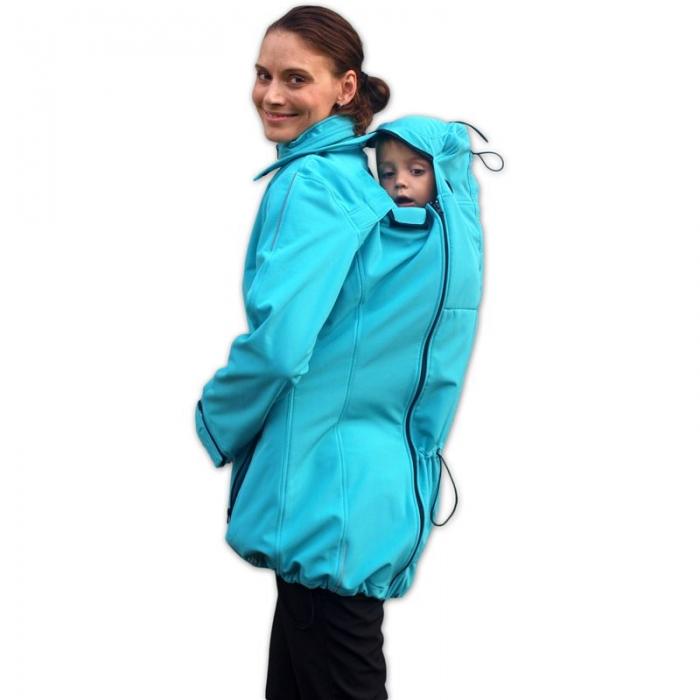 Bunda pro nosící, těhotné - softshellová - pro nošení dítěte v předu i vzadu - tyrkysová