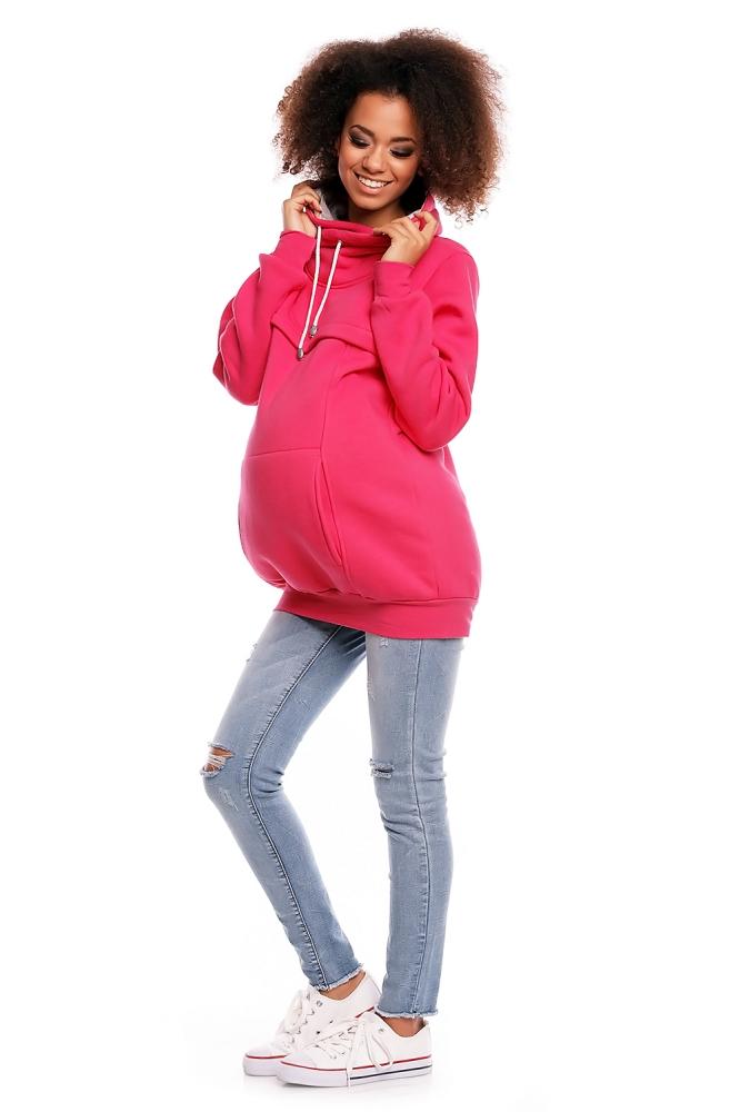 Těhotenská mikina s roláčkem DORA - růžová 8a51a43eb03