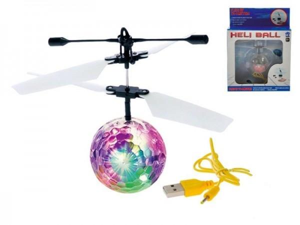 Vrtulníková koule/míček Diamond 11cm svítící reagující na pohyb ruky s USB kabelem v