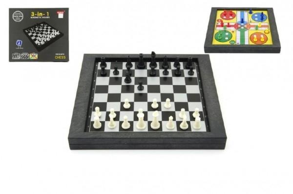 Soubor her 3v1 magnetické šachy+dáma+člověče, nezlob se v krabici 26x23x3cm
