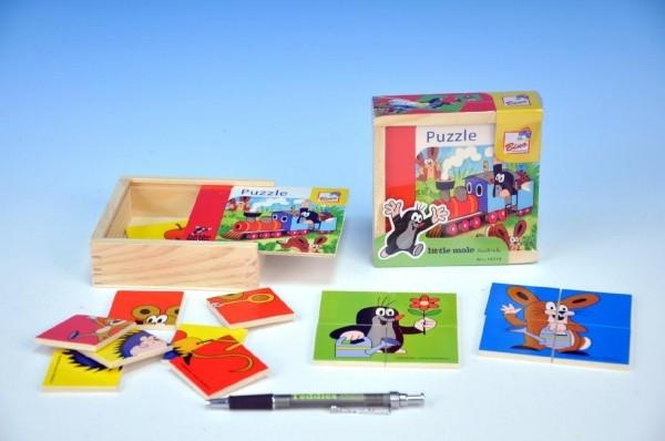 Skládačka Puzzle pro nejmenší Krtek dřevo 16ks v dřevěné krabičce 12x12cm 10m+