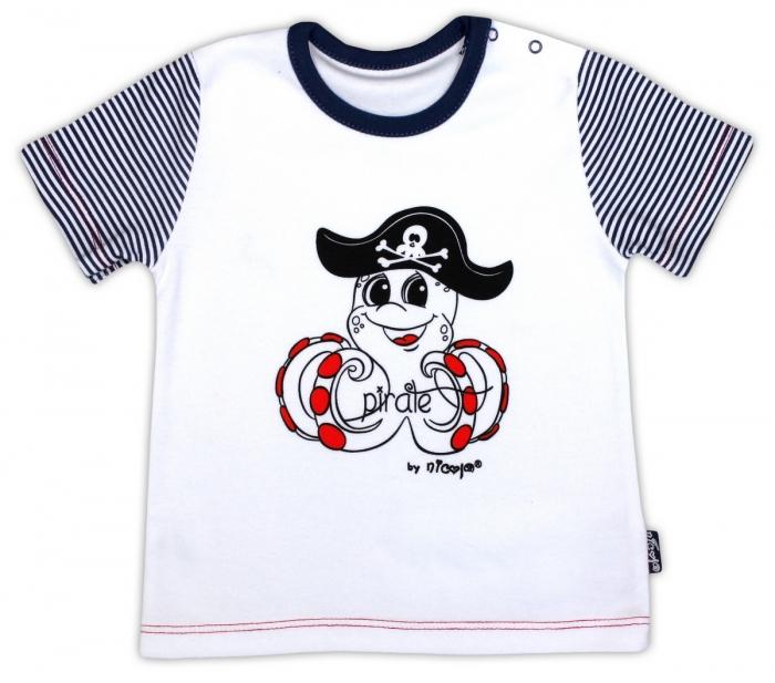 Bavlněné tričko NICOL PIRÁTI - krátký rukáv - bílá