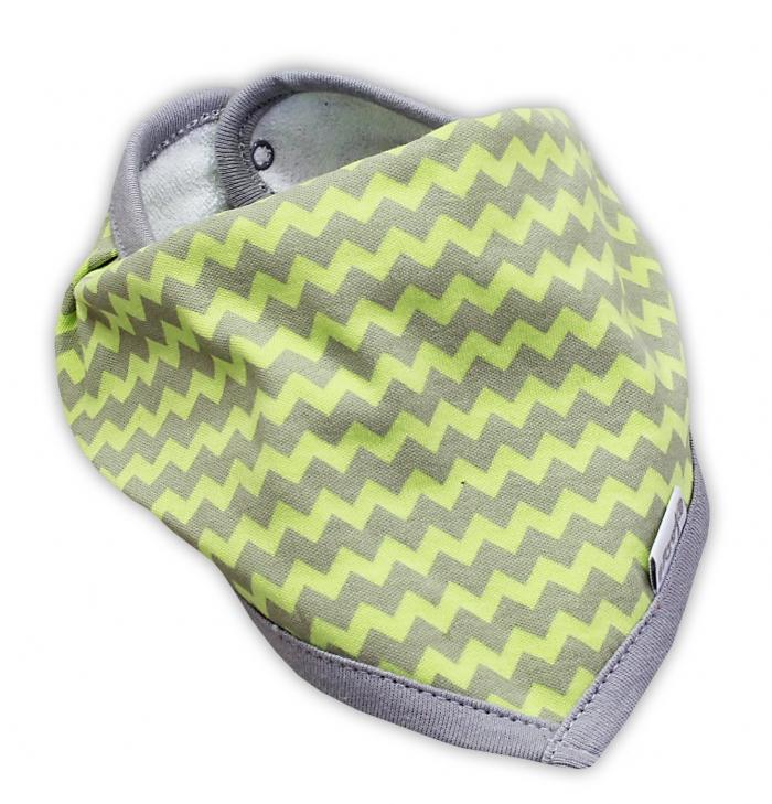 Dětský šátek na krk NICOL JEŠTĚRKA - zigzag hráškově zelená
