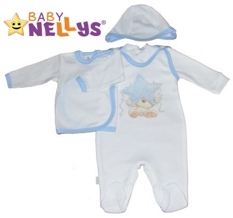 4-dílná kojenecká sada oblečení do porodnice Baby Nellys ® - bílá/sv. modrý lem