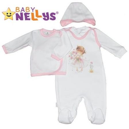 4-dílná kojenecká sada oblečení do porodnice Baby Nellys ® - bílá/sv. růžový lem