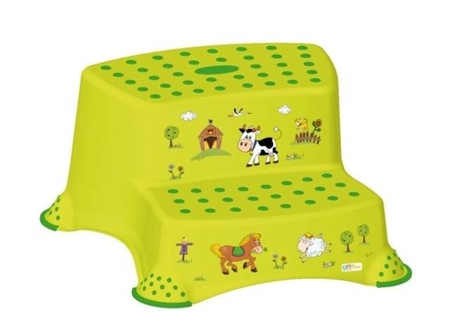 Stolička - schůdky s protiskluzovou funkcí - Funny Farm - zelená