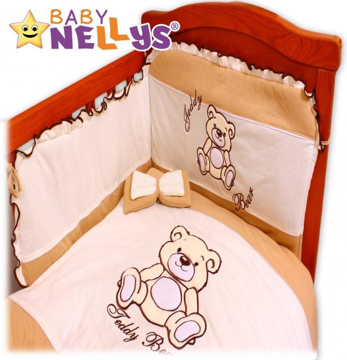 Povlečení do postýlky TEDDY BEAR Baby Nellys - jersey - hnědý