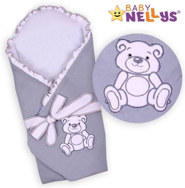 Zavinovačka s výztuží TEDDY BEAR Baby Nellys - velur - šedá