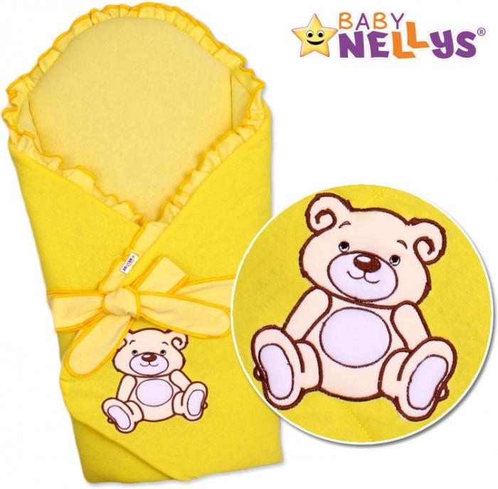 Zavinovačka s výztuží TEDDY BEAR Baby Nellys - velur - žlutá