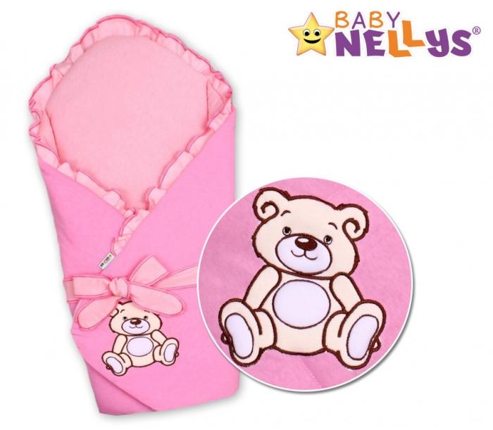 Zavinovačka s výztuží TEDDY BEAR Baby Nellys - velur - růžová