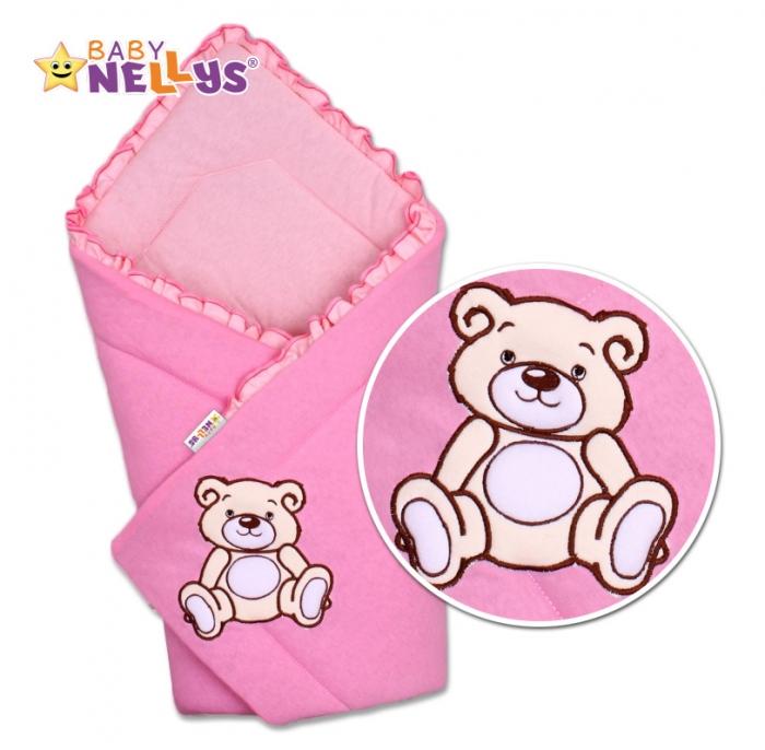 Zavinovačka TEDDY BEAR Baby Nellys - velur - růžová