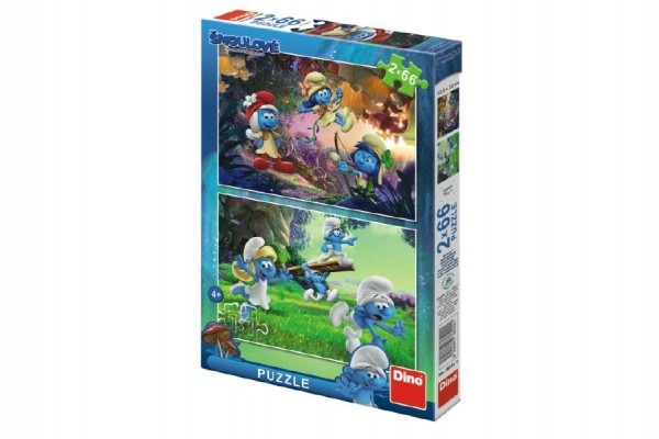Puzzle Šmoulové 3: Výprava 2x66 dílků 32,3x22cm v krabici 23x33,5x3,5cm