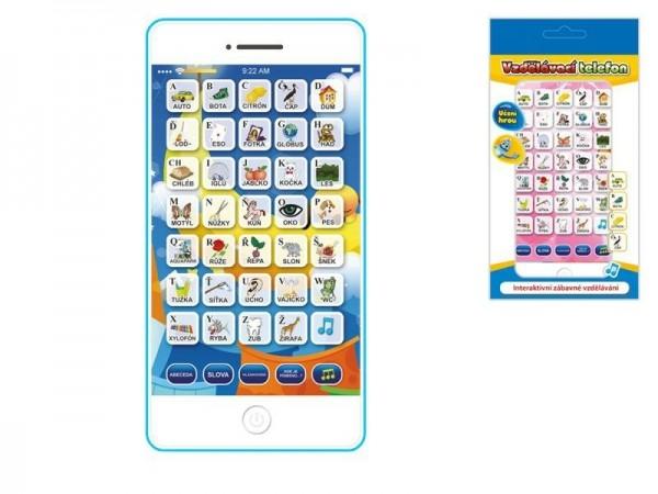 Vzdělávací telefon mobil plast 15,5x8x1,5cm česky mluvící na baterie 2barvy v krabičc