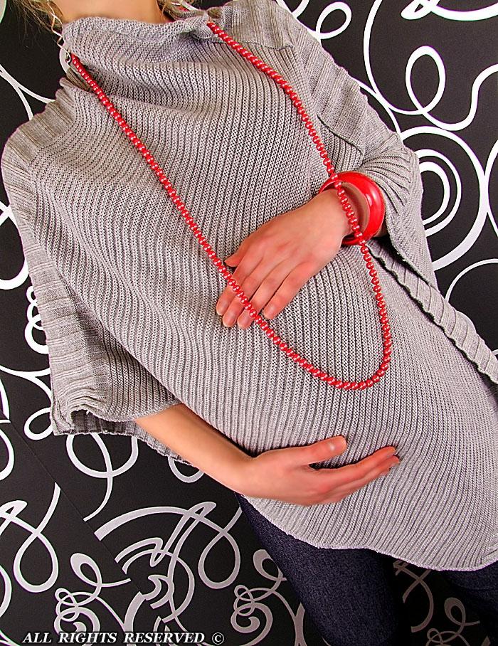 Moderní těhotenské pončo - sv. šedá