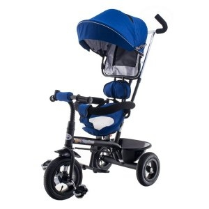 Tříkolka EURO BABY s vodící tyčí - modro-černá