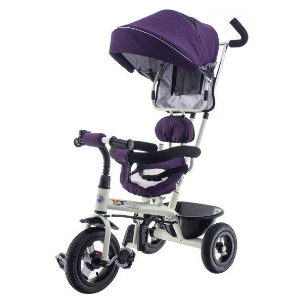 Tříkolka EURO BABY s vodící tyčí - fialová