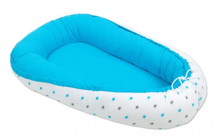 Oboustranné hnízdečko - kokon pro miminko - Modré / hvězdičky šedé a modré