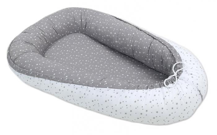 Oboustranné hnízdečko - kokon pro miminko - Mini hvězdičky šedé / mini hvězdičky bílé