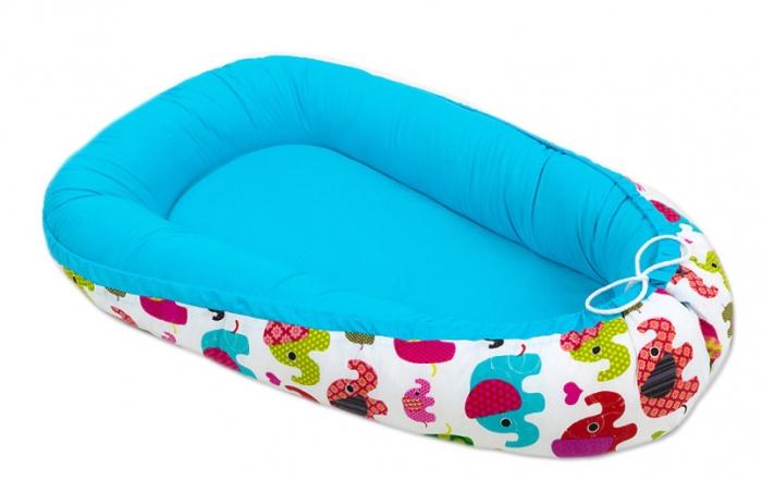 Oboustranné hnízdečko - kokon pro miminko - Modré / sloni barevní