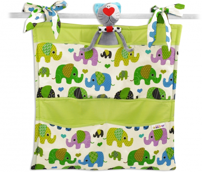 Kapsář Baby Nellys ® Sloník HAPPY - smetanový/sloni zelení