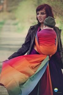 Little FROG Tkaný šátek na nošení dětí - AMMOLITE IN LOVE