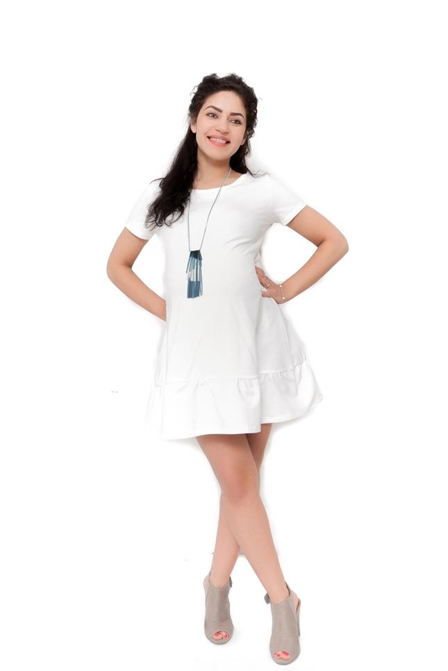Těhotenské šaty Adela - ecru