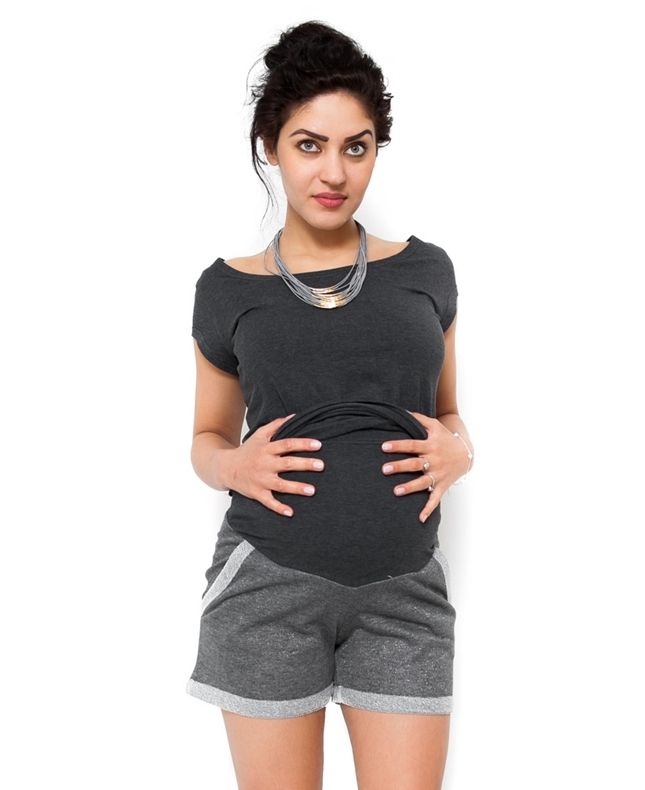Těhotenské teplákové kraťasy Nadia - šedá