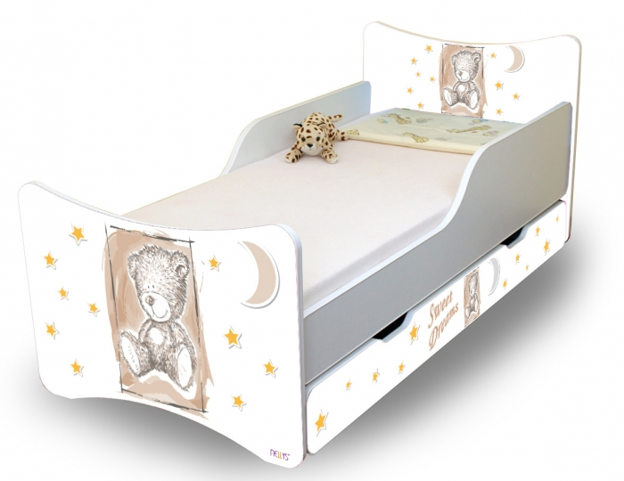 Dětská postel Sweet Teddy se zábranou a s šuplíkem - béžová, 160x80 cm